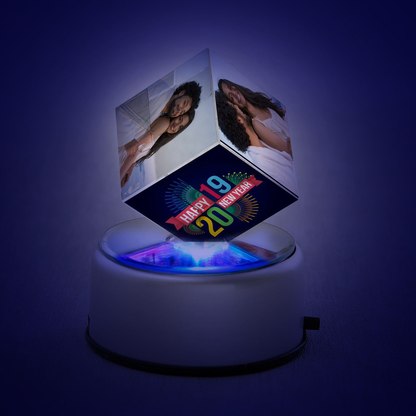 Happy New Year Personalized Crystal Cube