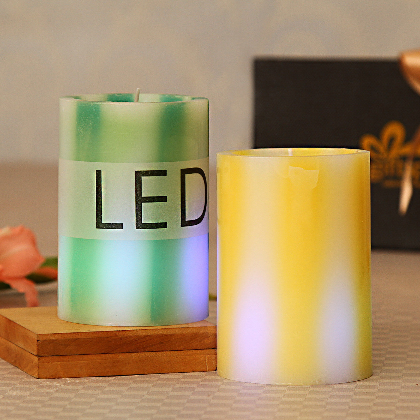 LED Green & Yellow Pillar Scented Candles
