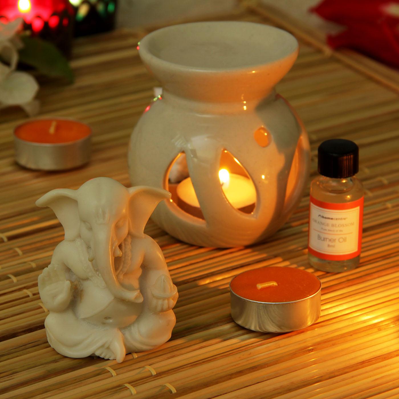 Marble Ganesha Idol & Aroma Diffuser
