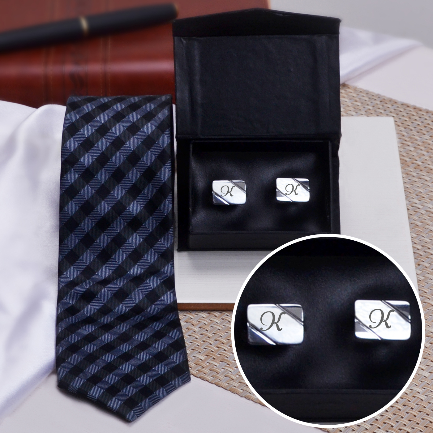 Personalized Cufflinks with Jacquard Tie