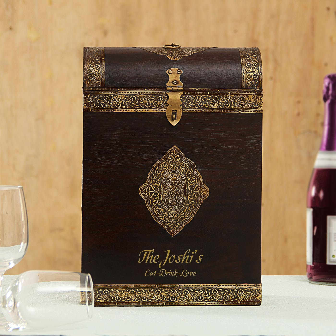 Personalized Wooden Metal Embossed Wine Box for Two Bottles