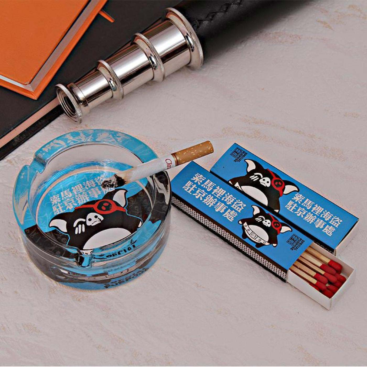 Piggy Print Glass Ashtray with Matchbox Giftset