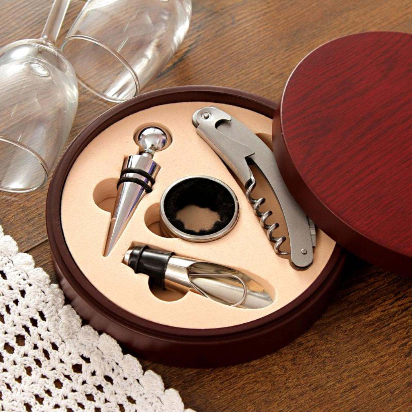 Wine Tool Kit in a Round Wooden Box
