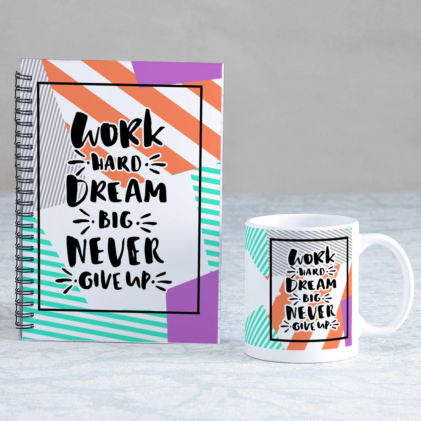 being positive set of diary mug