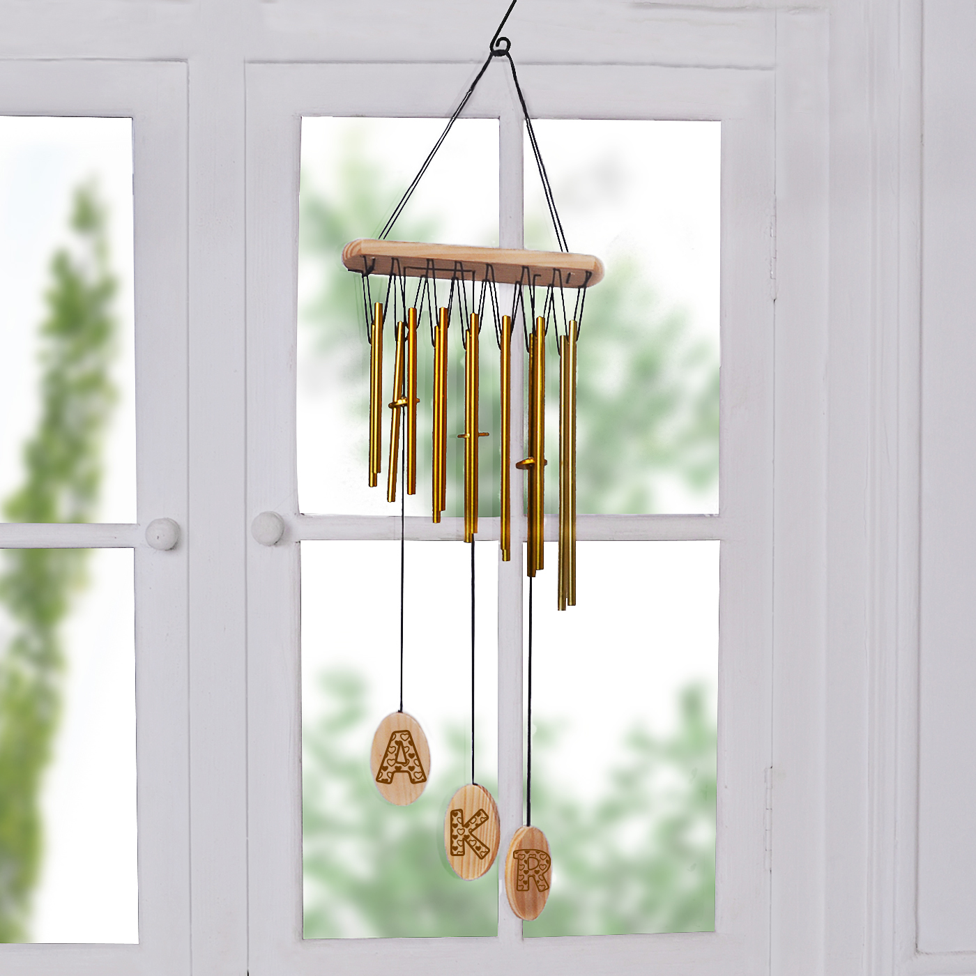 gold personalized wind chime