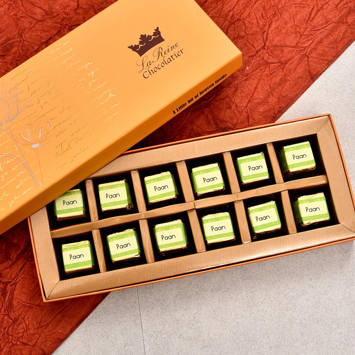 la reine paan flavoured dark chocolates