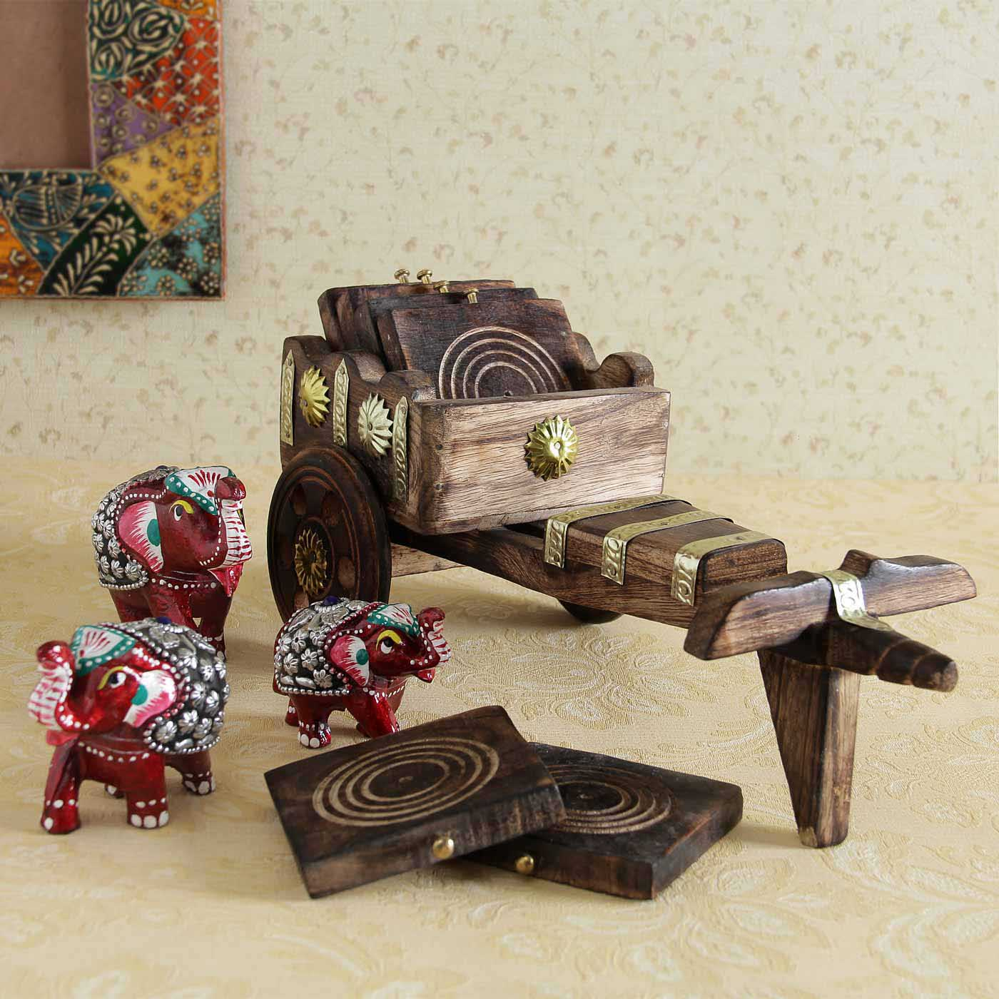 Epic Wooden Coasters and Elephant Showpiece Set