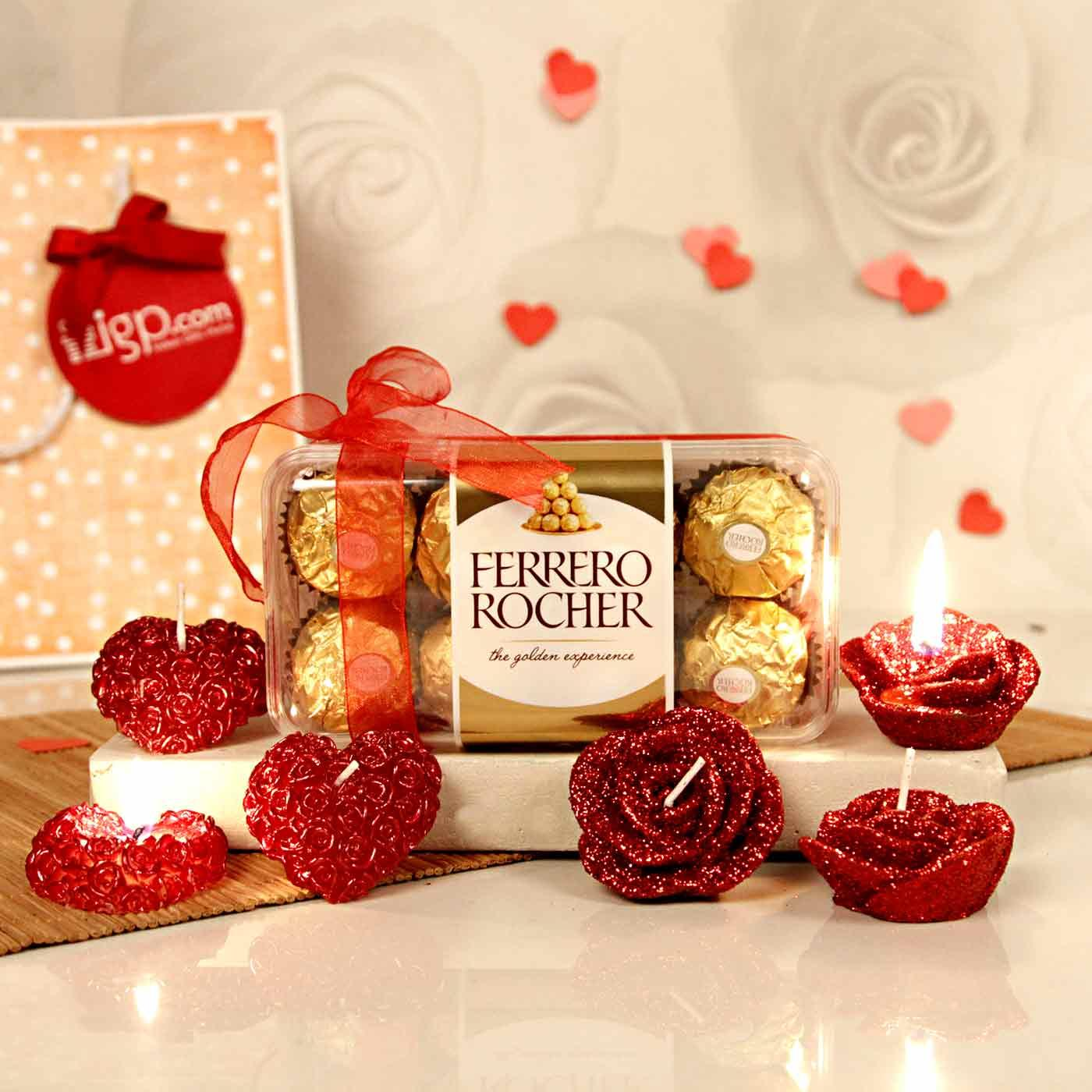 ferro rocher chocolates with romantic candles