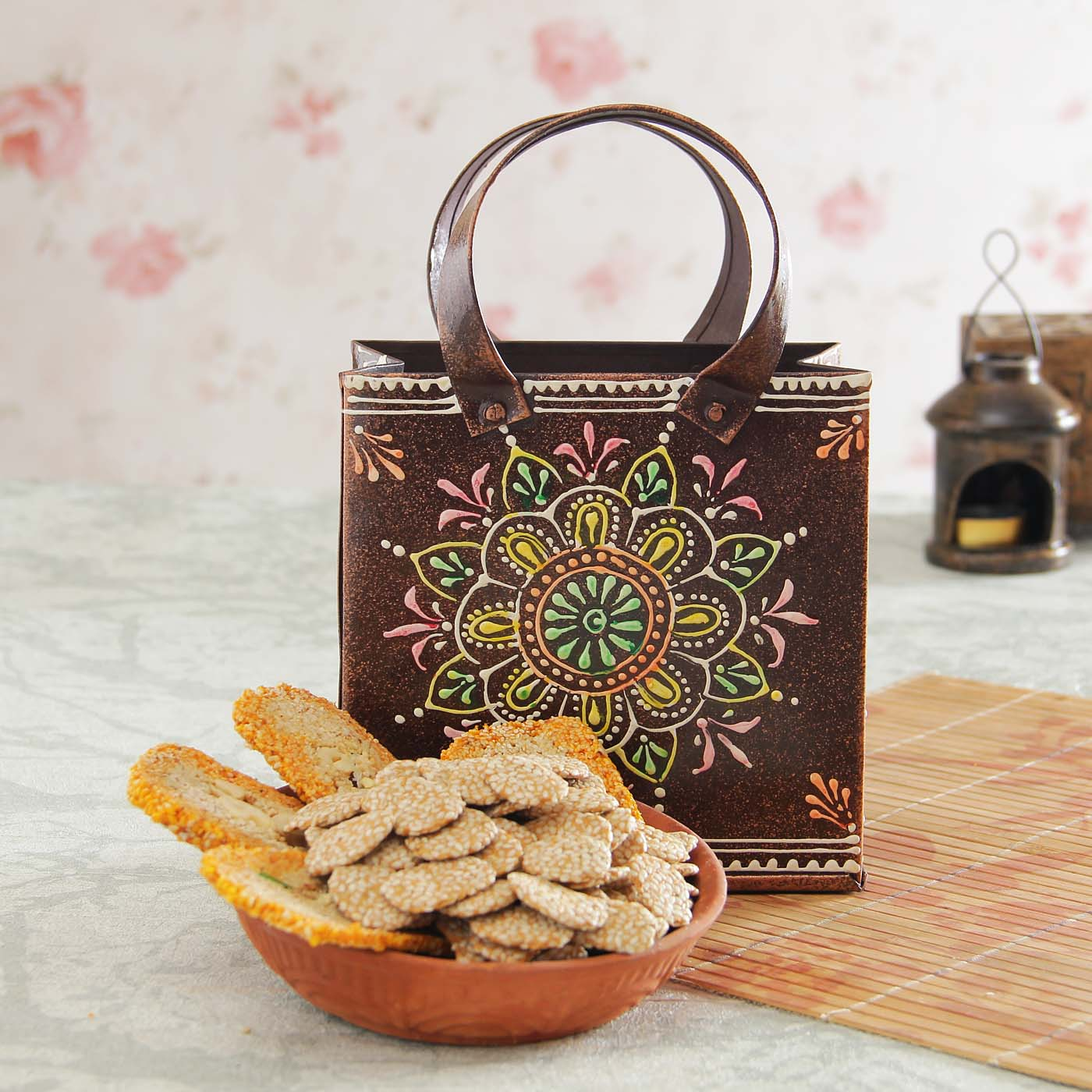 gur rewri with mango kaju gajak iron bucket