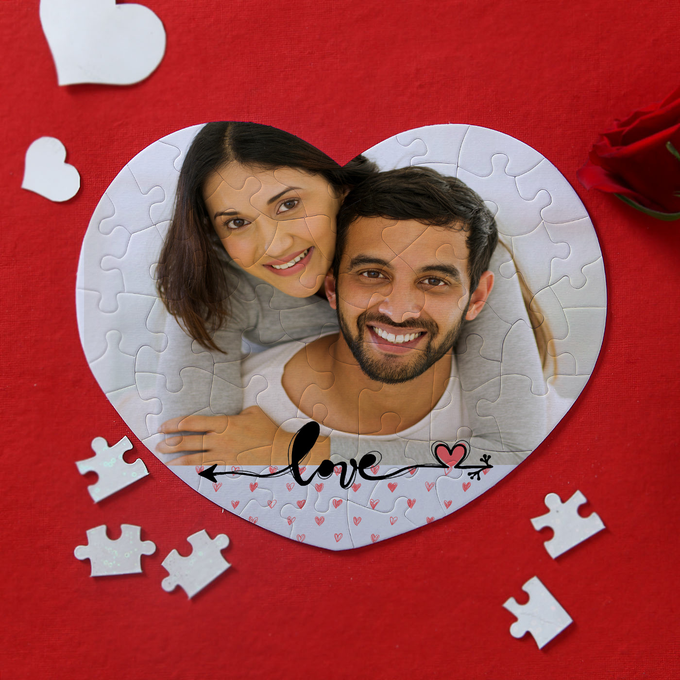 heart shaped personalized hard board paper puzzle