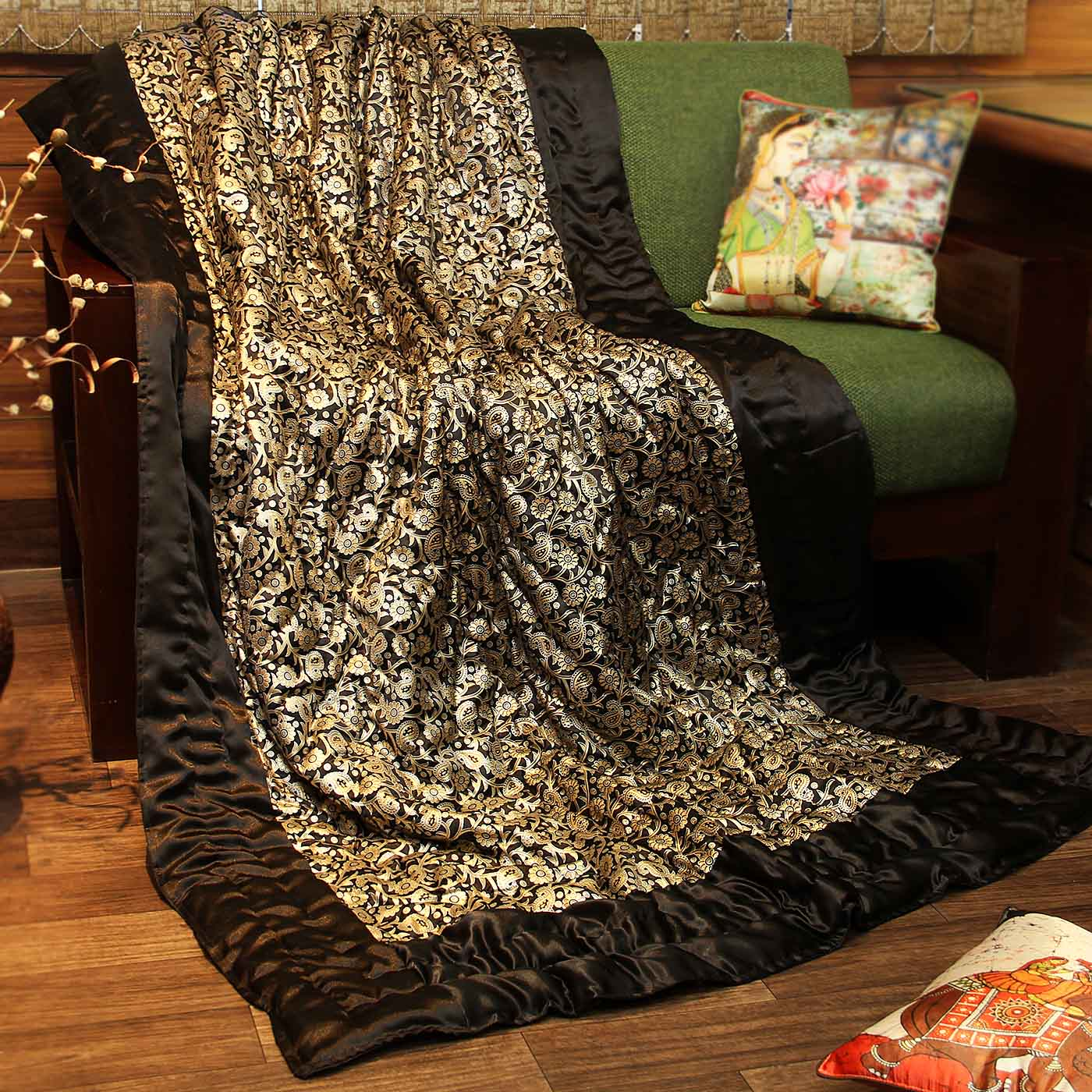 jaipuri silk single bed quilt