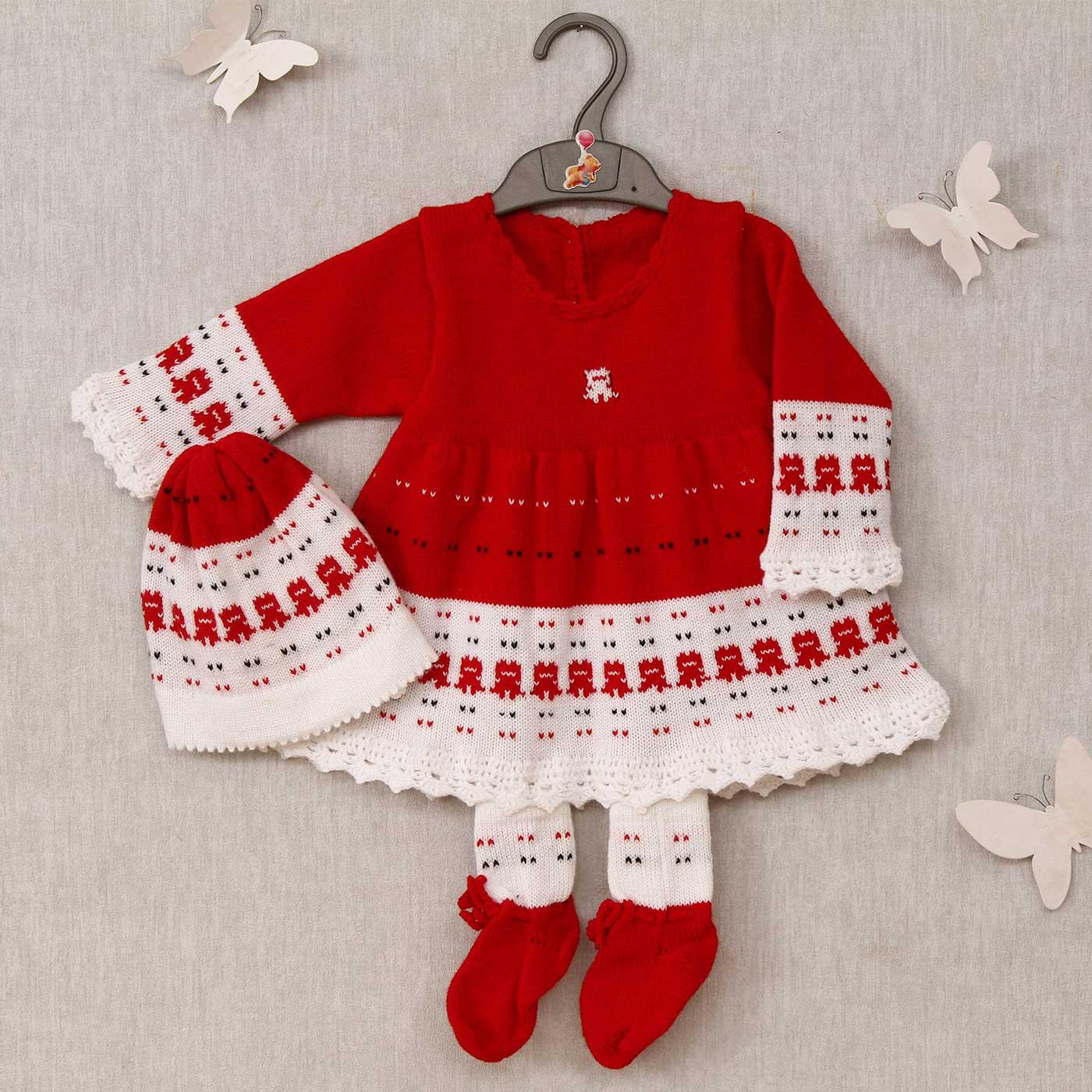 red white woolen frock with socks cap for baby girl
