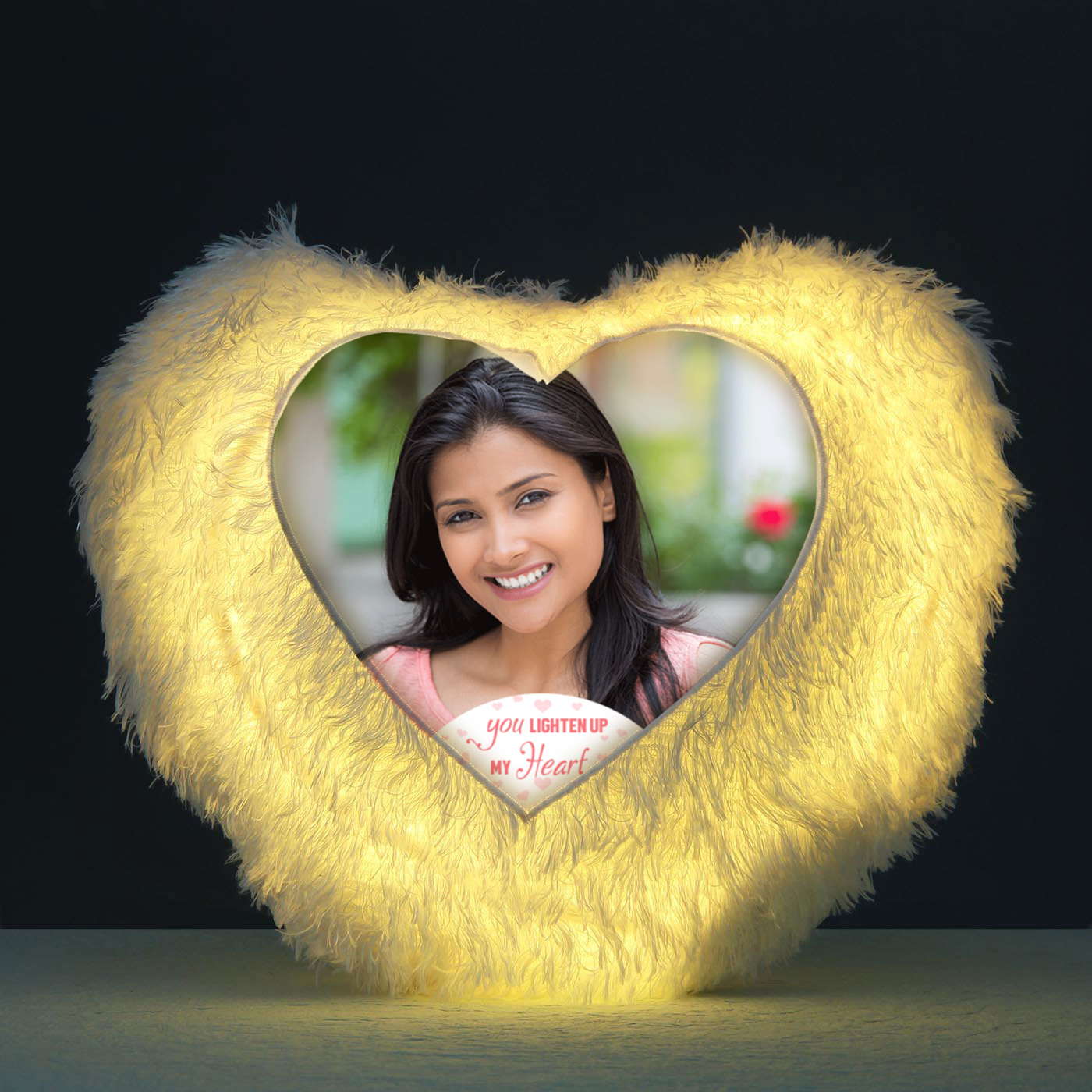 you light up my heart personalized led cushion