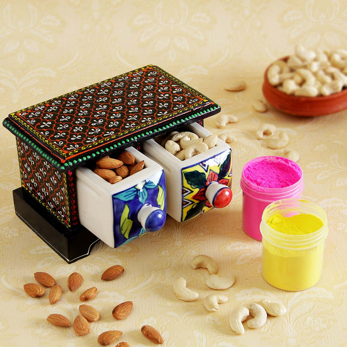 Cashews Almonds with Holi Gulal and Wooden Embossed Box