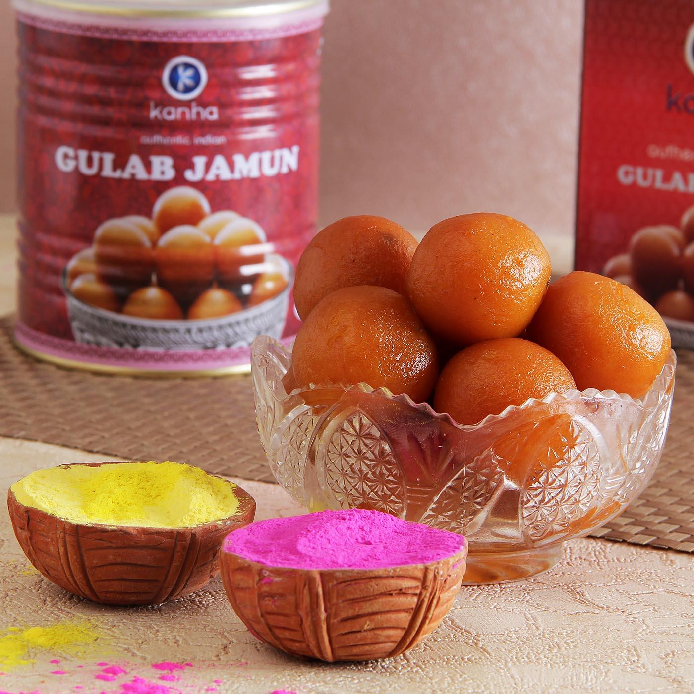 Gulab Jamun with Holi Color