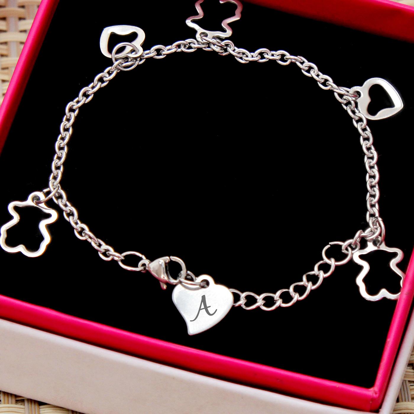 Heart and Teddy Bear Personalized Bracelet