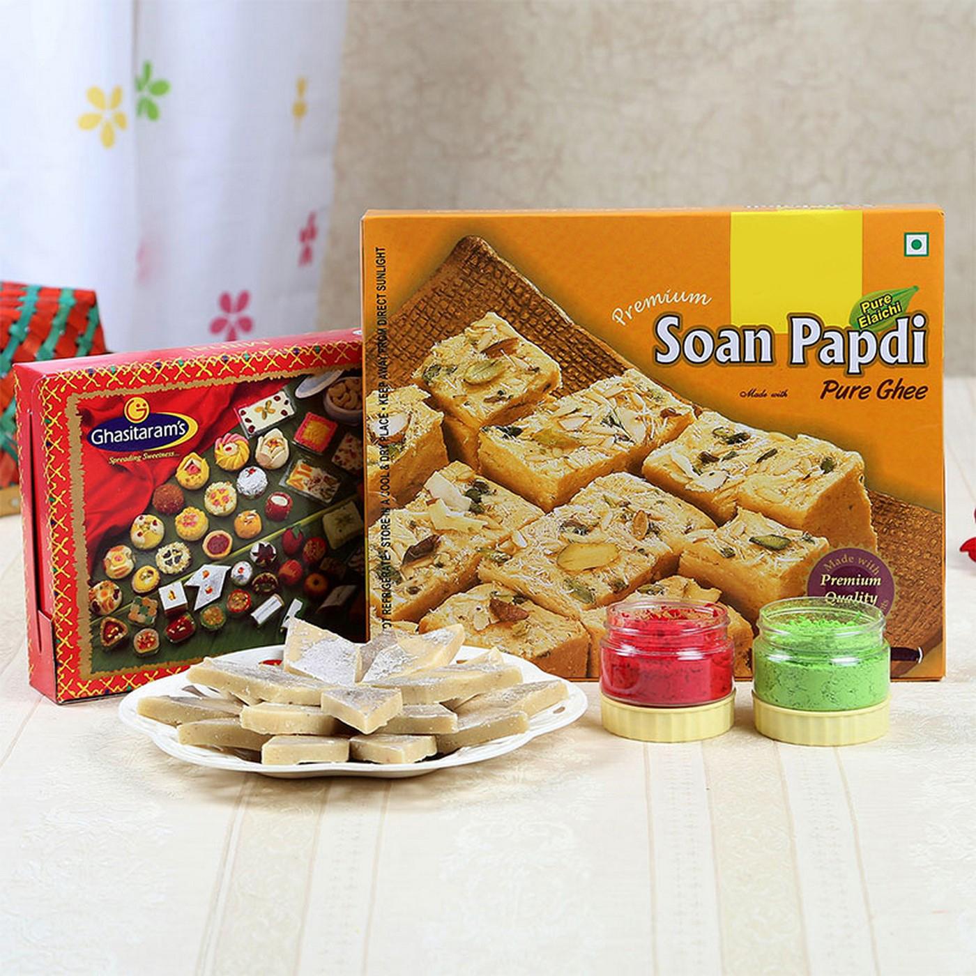 Holi Gulal with Soan Papdi and Kaju Katli