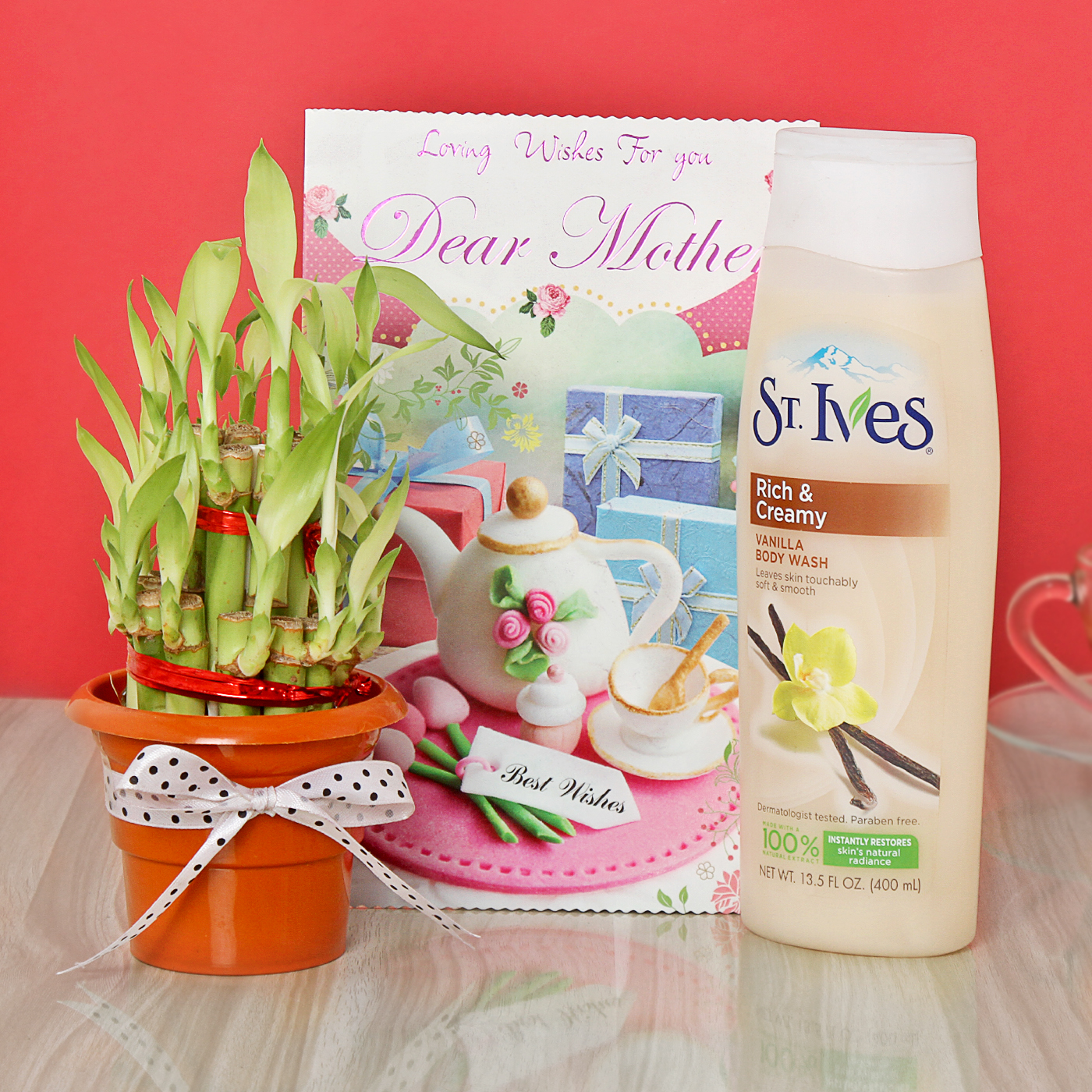 Good Luck Bamboo Plant with St.Ives Body Wash & Greeting Card for Mom