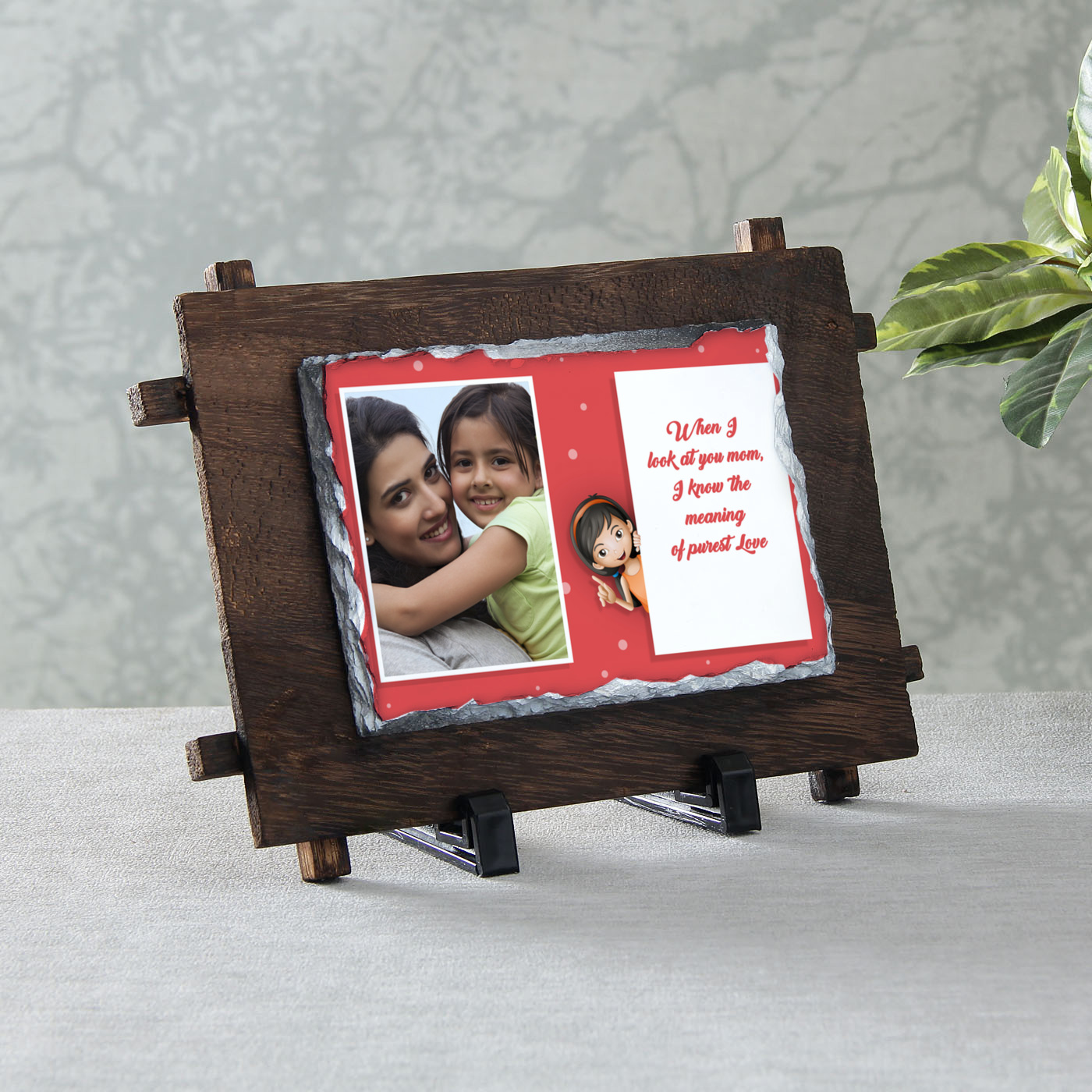 Mom's Pure Love Personalized Stone Photo Frame