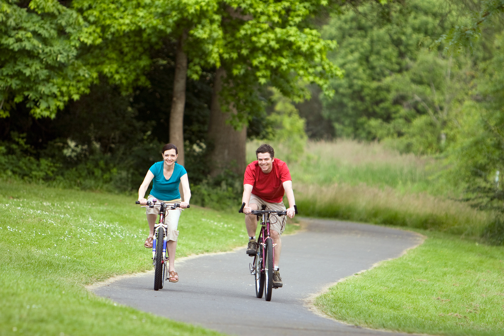 Mother and Son Cycling