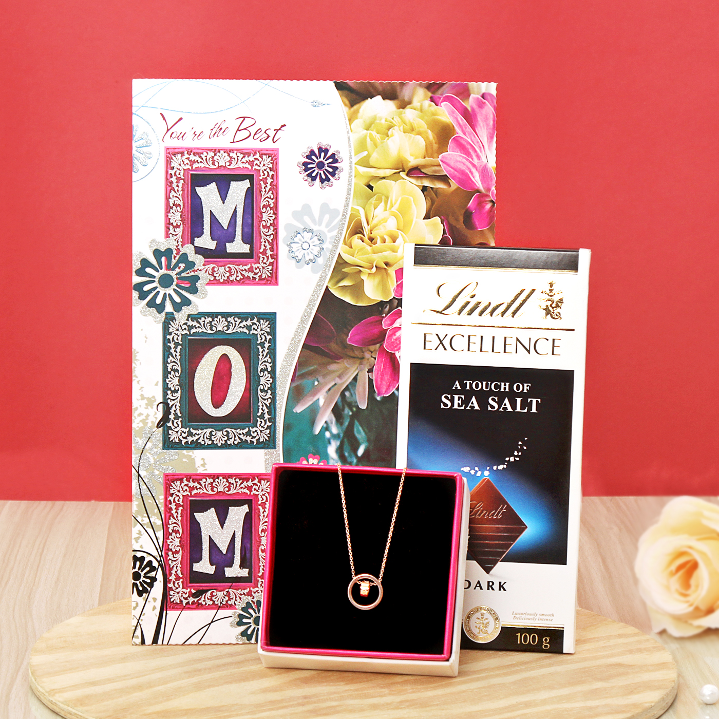Rose Gold Finish Necklace with Lindt Sea Salt & Greeting for Mom