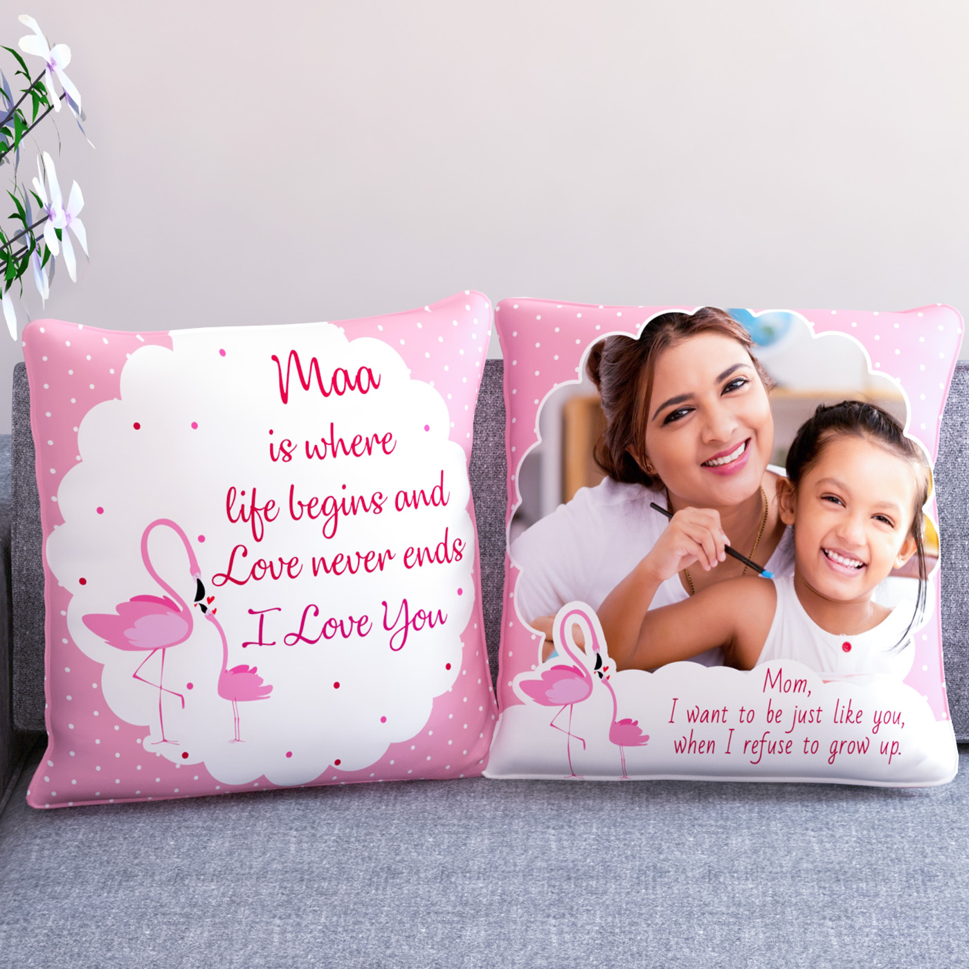 Specially for Maa Personalized Set of Two Cushions