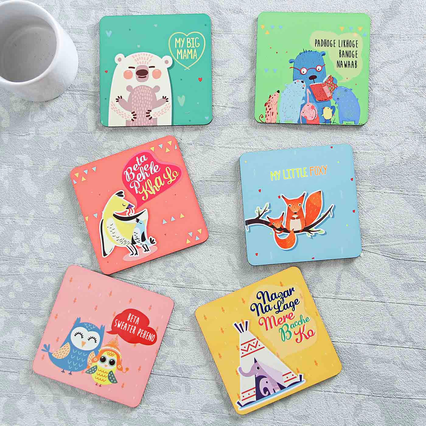 Wooden Square Coasters Set Of Six