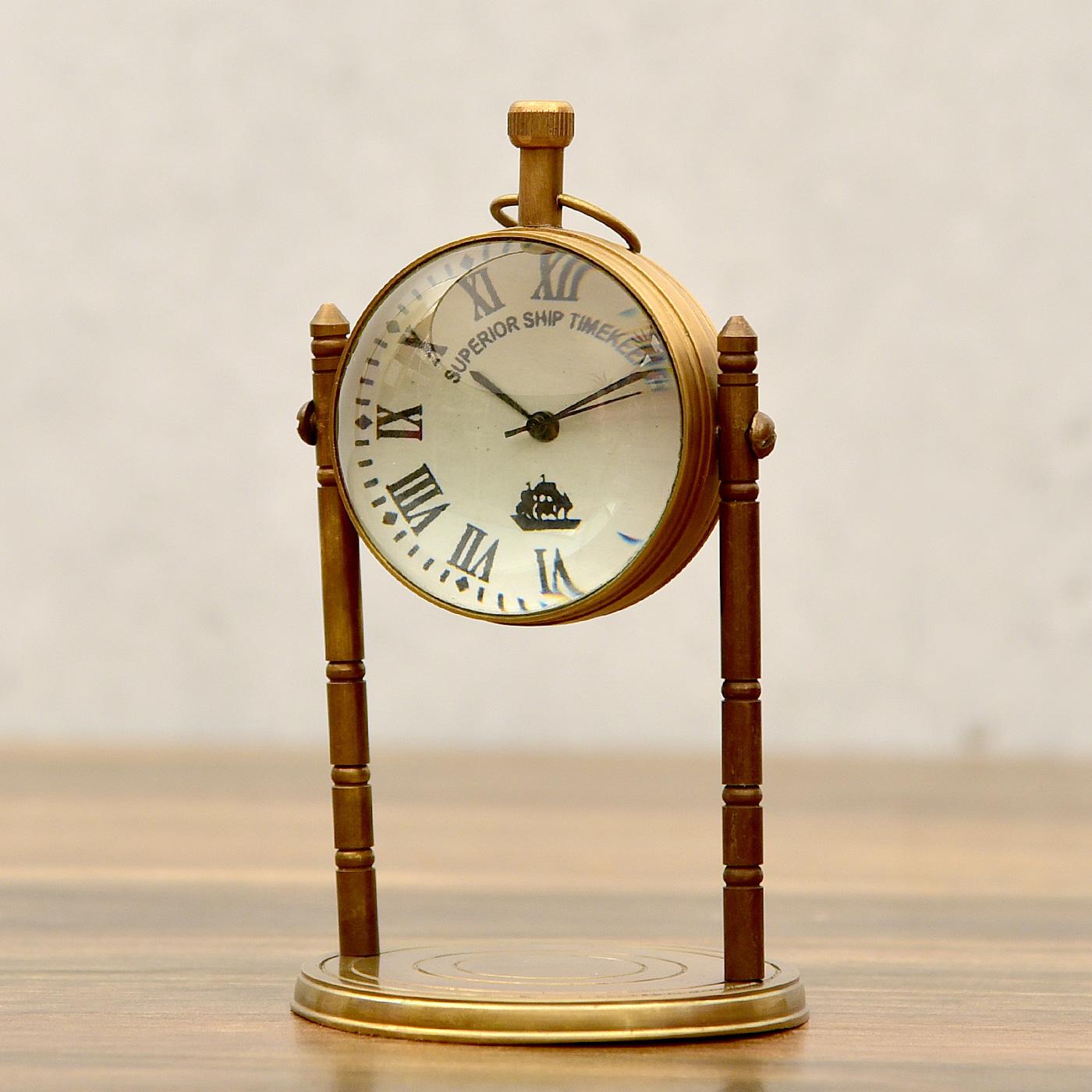 Antique-Finish-Solid-Brass-Victorian-Design-Globe-Pillar-Table-Clock 1