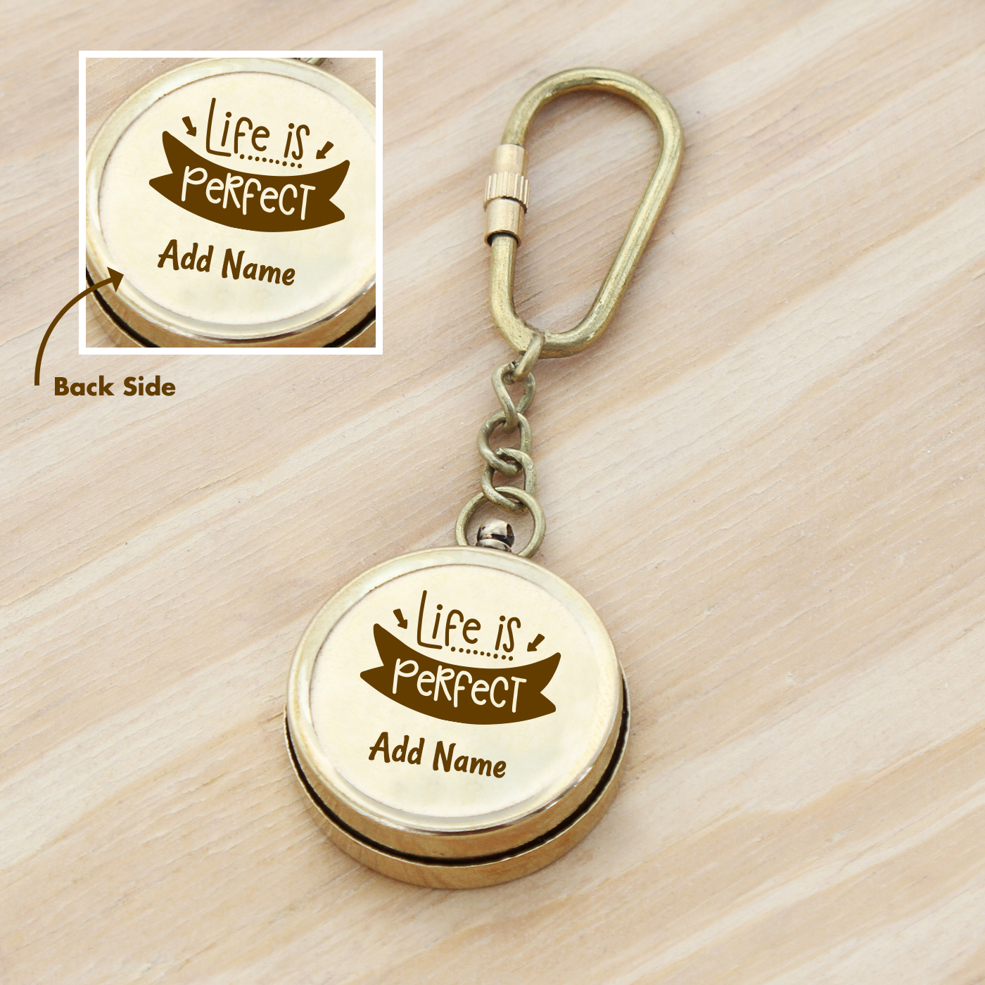 Life-is-Perfect-Personalized-Brass-Compass-Key-Chain