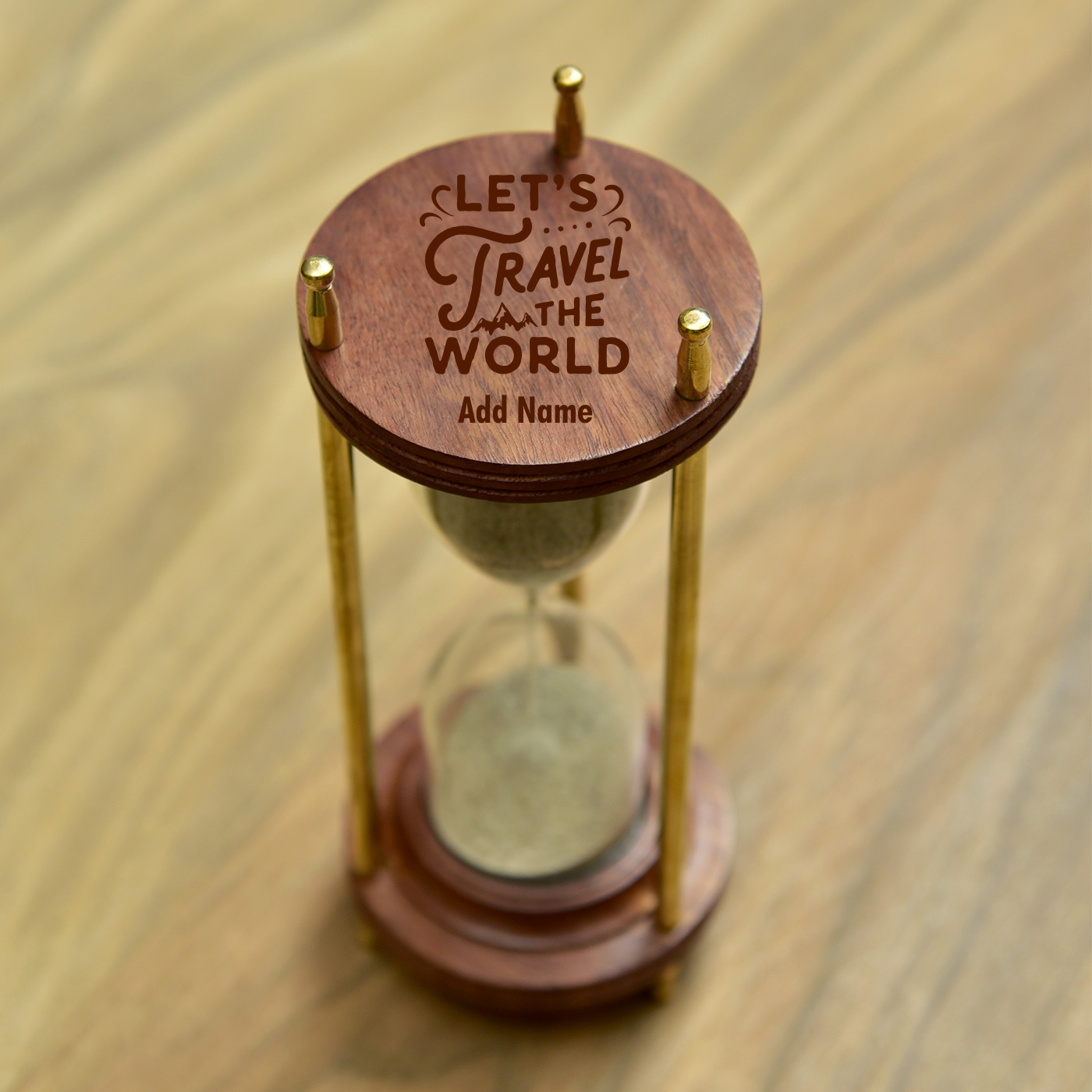 Personalized-Sheesham-Wood-and-Brass-Hour-Glass-Sand-Timer