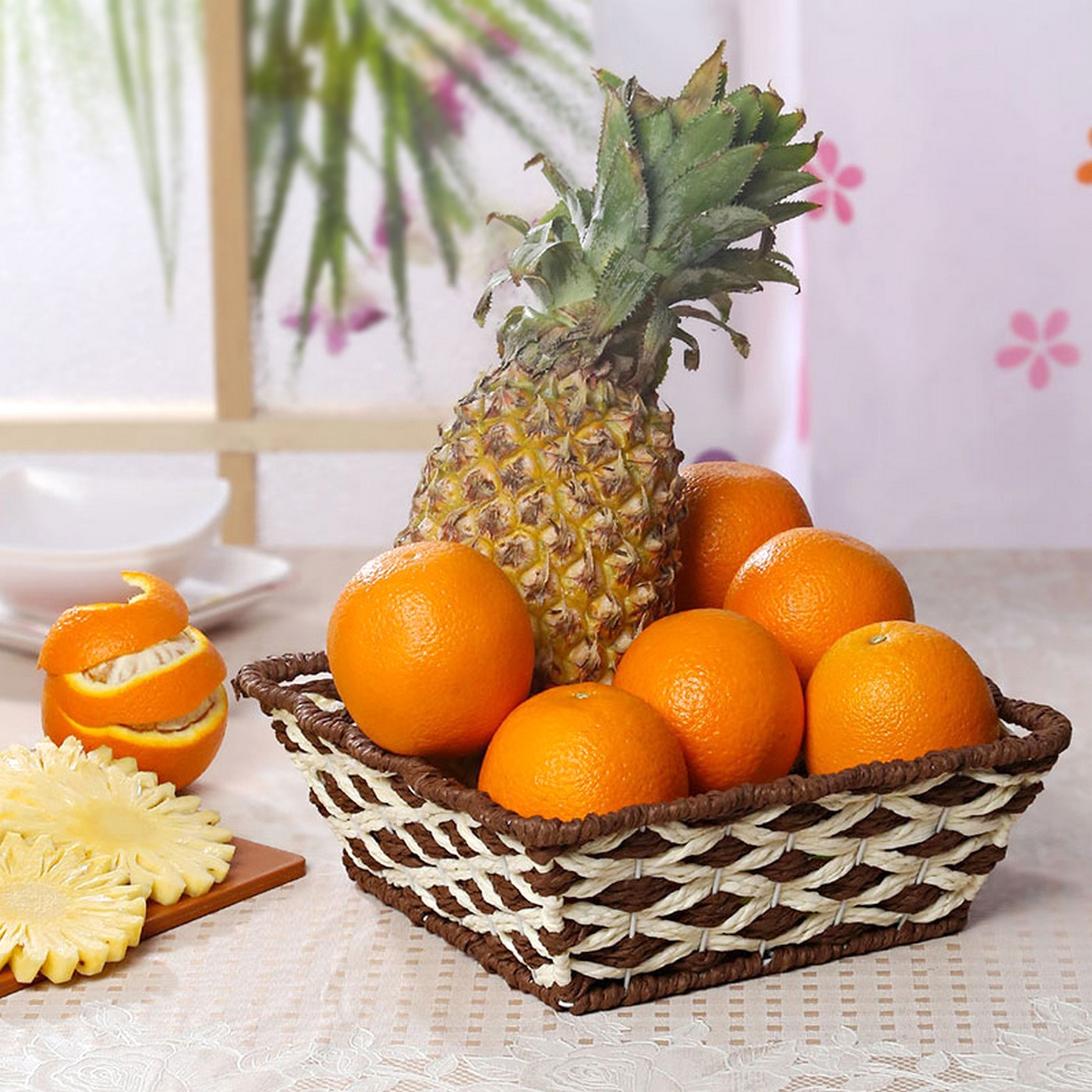 Basket of Oranges and Pineapple