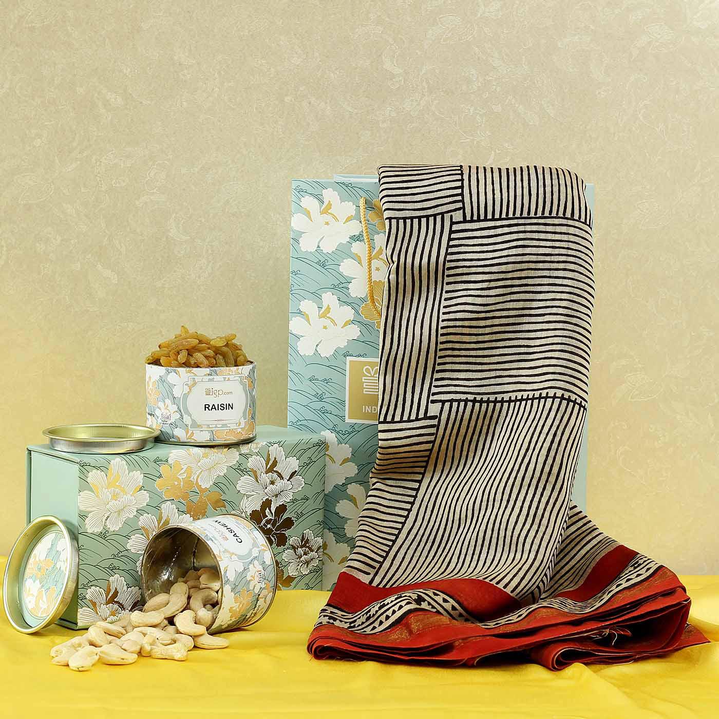 Chanderi Cotton Silk Saree with Dry Fruit Box