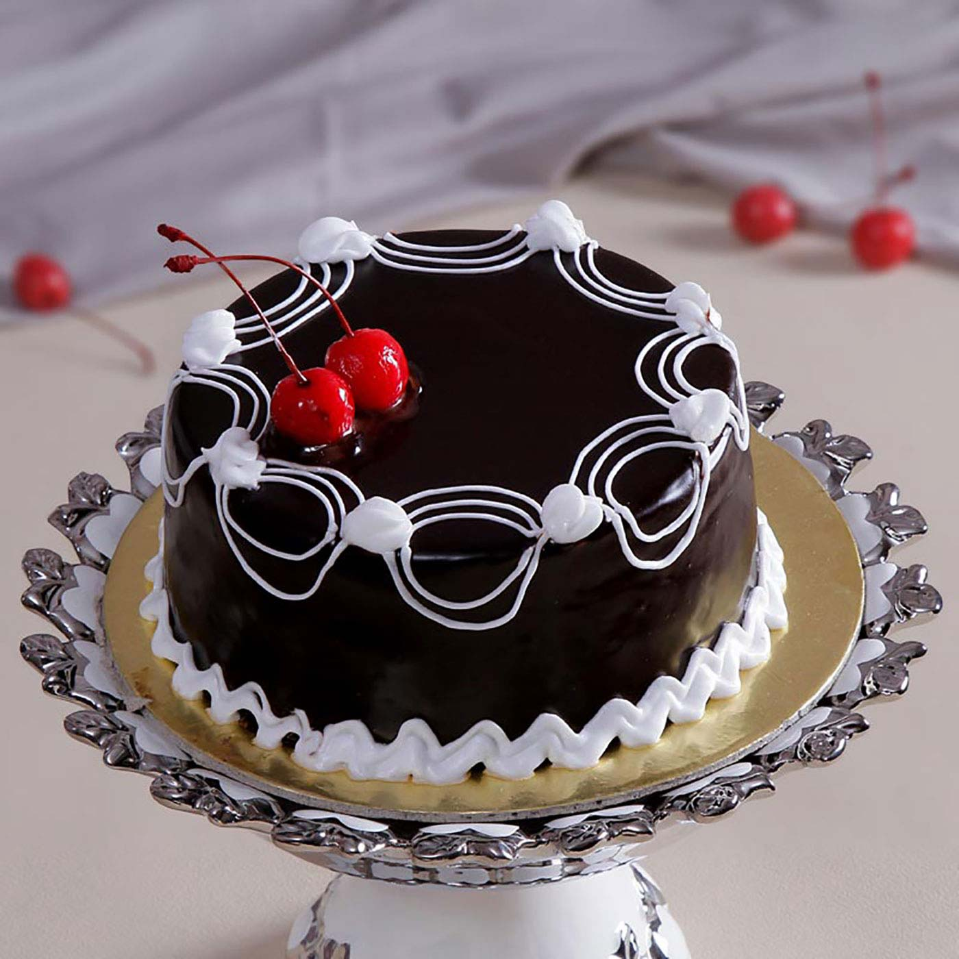 Chocolate Cake with Cherry Toppings