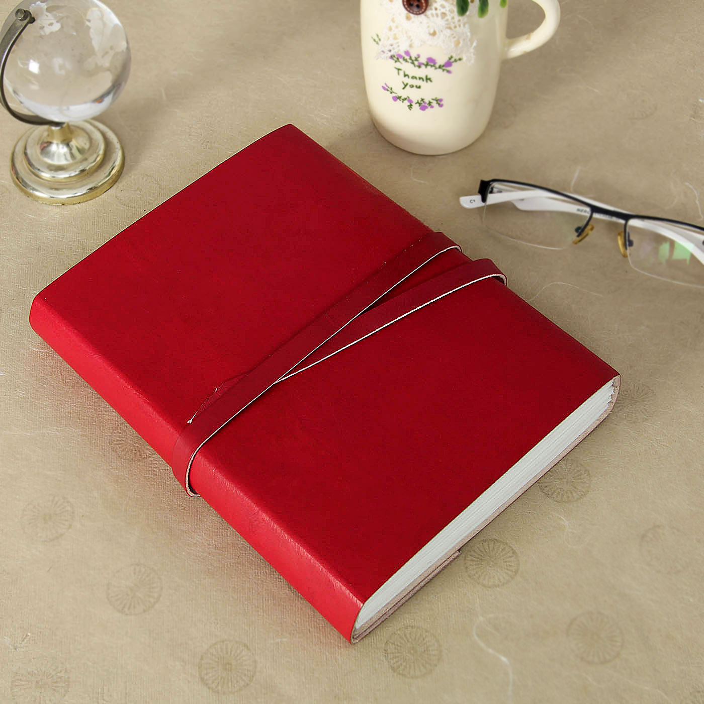 Red Leather Handmade Notebook with Strap Closure