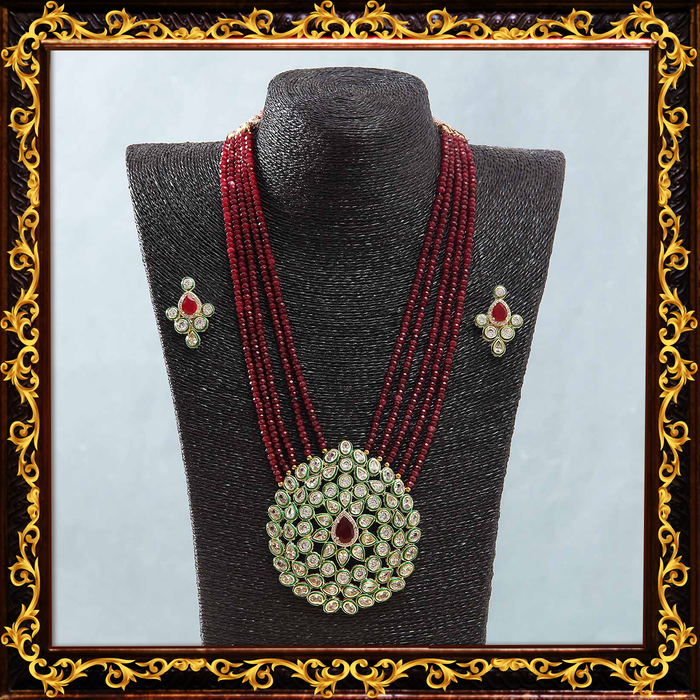 Semi_precious_kundan_work_red_necklace
