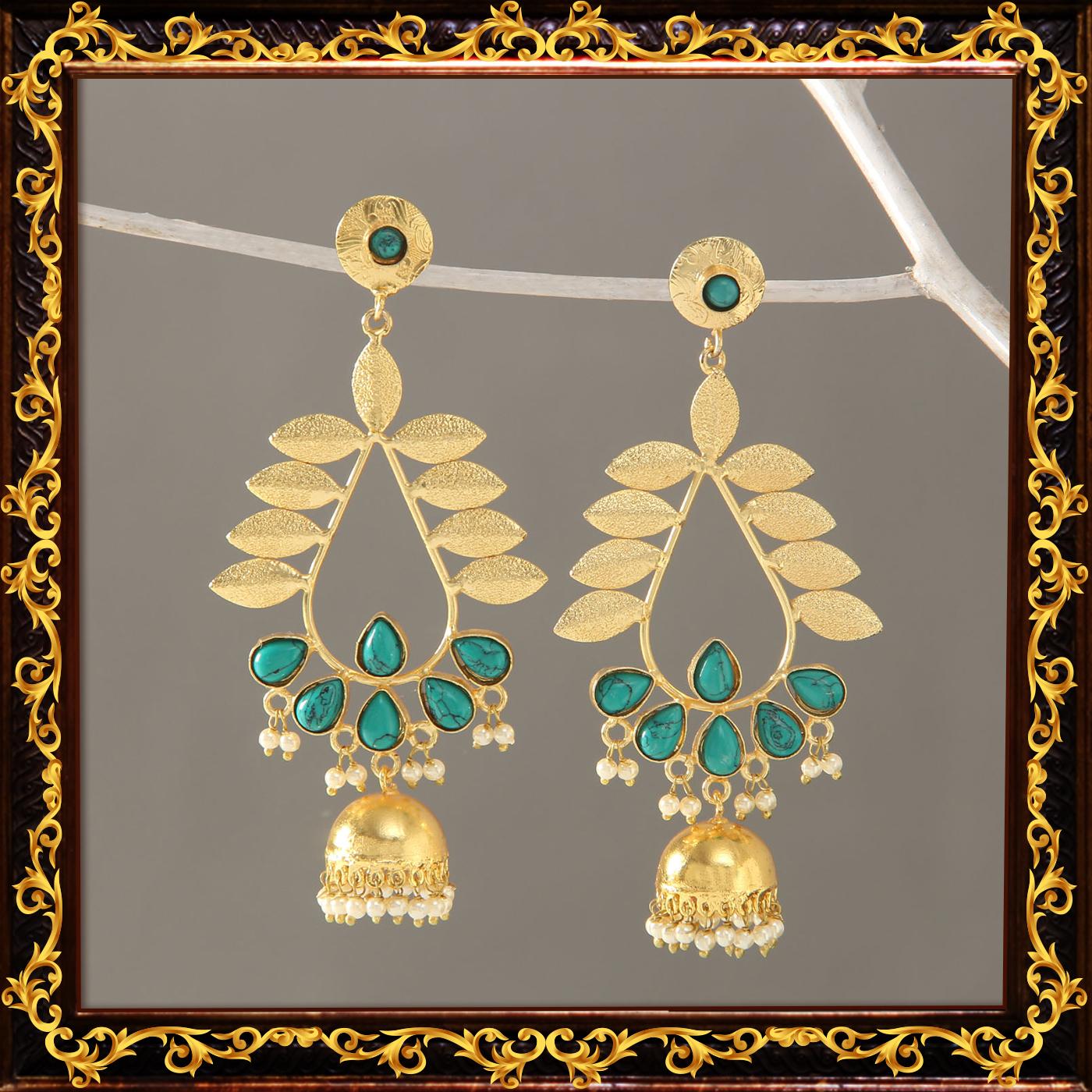 Semi_precious_turquoise_gold_jhumka