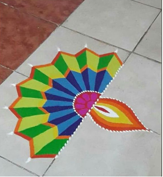 Diya_Shaped_Rangoli