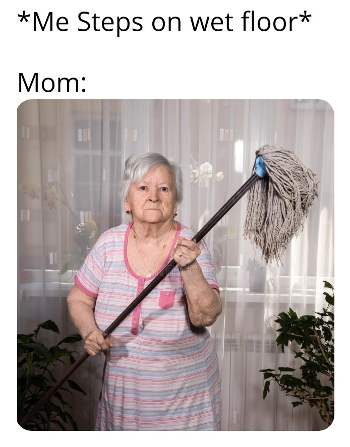 Angry Woman with mop meme