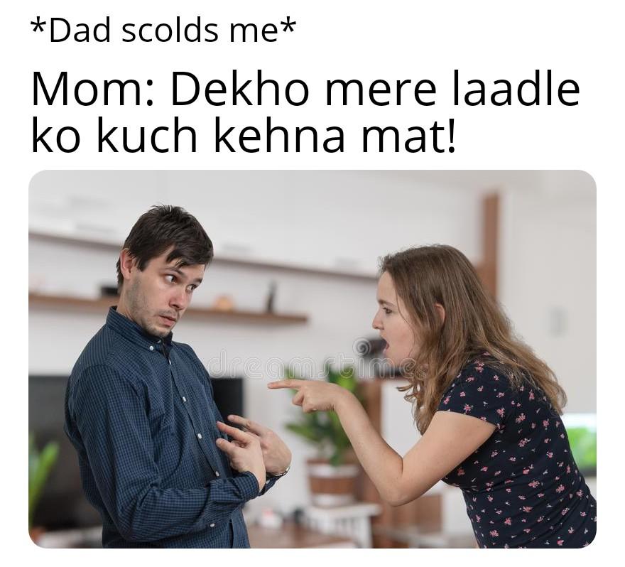 Mom angry on dad