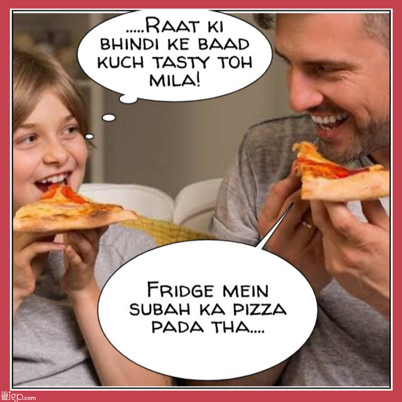 Dad and son eating pizza