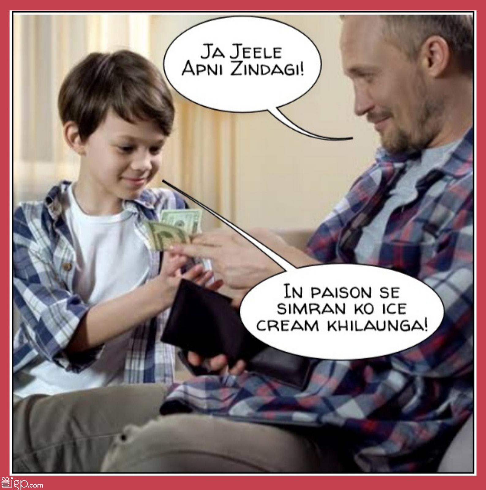 Dad giving extra pocket money