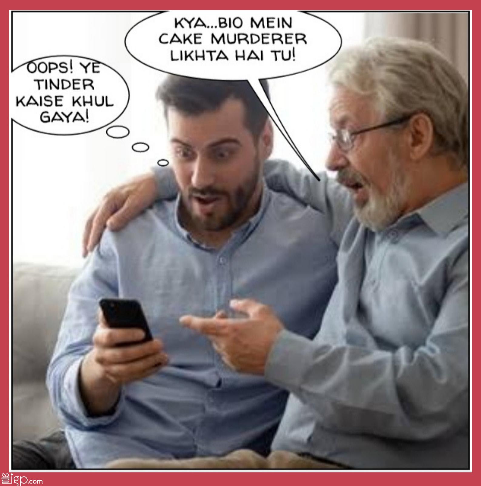 Dad checking sons tinder profile