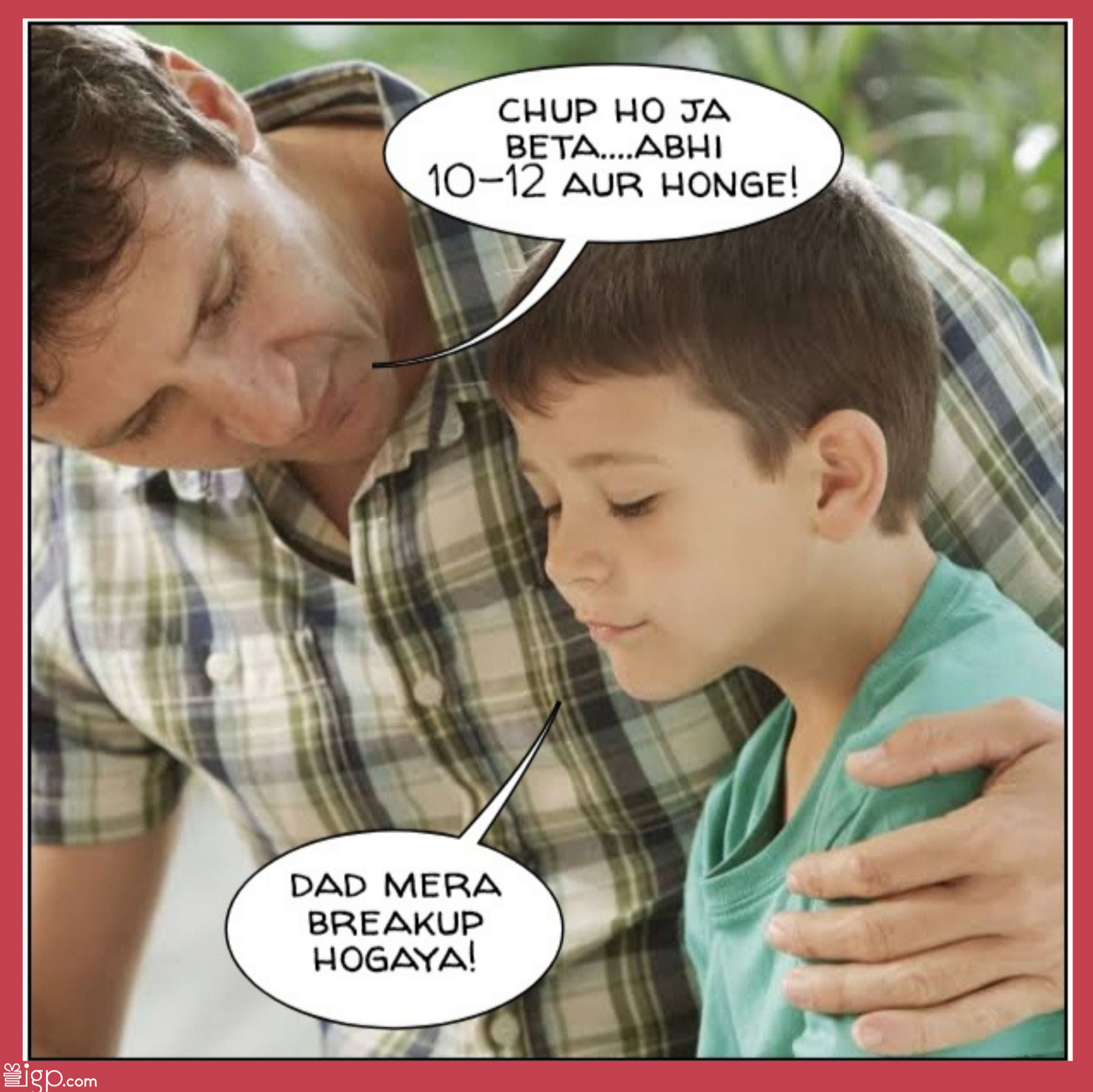 Dad consoling son